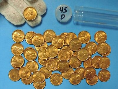 Roll of 1945 D Lincoln Head Wheat Cents 50 Pennies Uncirculated Coins