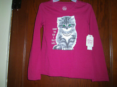 "New ""faded Glory"" Girls Long Sleeve Tee Shirt Size M (7-8) Pink Cat"