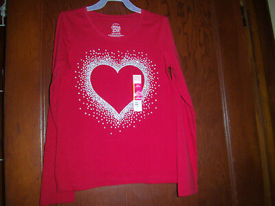 "New ""faded Glory"" Girls Long Sleeve Tee Shirt Size Large 10-12 Red Heart"