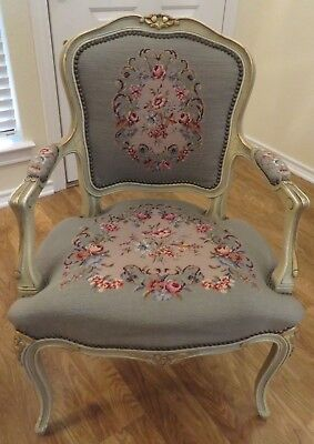 Exquisite French Style Needlepoint And Petit Point Vintage Armchair Gold Accents