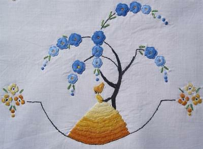 Very Large Vintage Hand Embroidered TABLE CENTREPIECE 'Crinoline Lady' NEVER USE