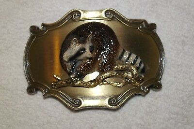 Vintage 1980 Raintree Raccoon Belt Buckle 3 Dimensional