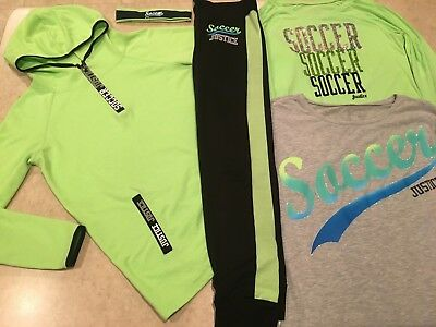Justice Soccer Tops Hoodie Joggers Headband 5 piece set Lot Outfit size 16 18