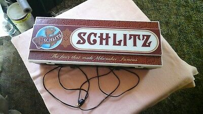 Vintage Schlitz Plastic Lighted Sign The Beer that Made Miwaukee Famous