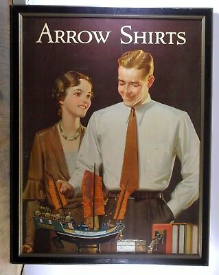 Original 1920 Large Arrow Shirts Framed Advertising Cardboard Poster