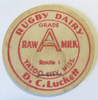 """Old  Raw Milk  Bottle Cap 1-5/8"""" Rugby Dairy D.C. Lucket Yazoo City Miss."""