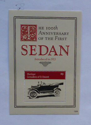 2013 St VINCENT & GRENADINES 100th ANNIV 1st SEDAN CAR MUSTIQUE STAMP MINI SHEET