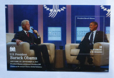 2013 St VINCENT & GRENADINES BARACK OBAMA & CLINTON STAMP MINI SHEET