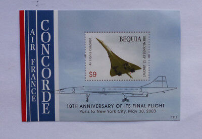 2013 St VINCENT & GRENADINES CONCORDE 10th ANNIV FINAL FLIGHT STAMP MINI SHEET