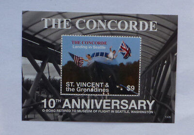 2013 St VINCENT & GRENADINES CONCORDE SEATTLE LANDING MINI SHEET