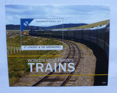 2013 St VINCENT & GRENADINES FAMOUS TRAINS TRANS-SIBERIAN TRAIN STAMP MINI SHEET