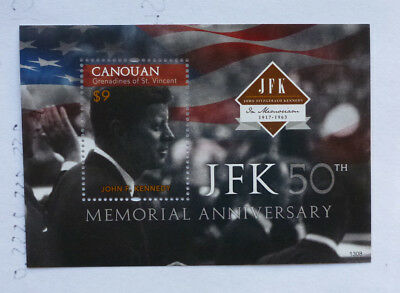 2013 St VINCENT & GRENADINES JFK 50th ANNIV. CANOUAN STAMP MINI SHEET