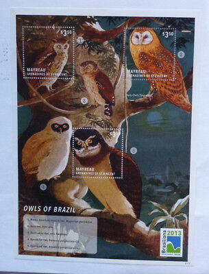2013 St VINCENT & GRENADINES OWLS OF BRAZIL MAYREAU STAMP MINI SHEET