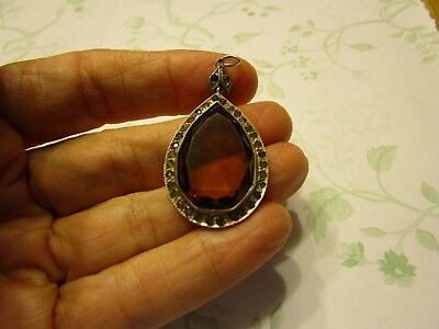 Vintage Art Deco Tear Drop Smokey Topaz and Rhinestones Paste Sterling Pendant