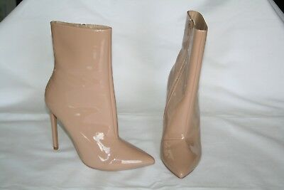 39fbf78cf370 Women s STEVE MADDEN WAGNER Blush   Nude Patent Heels 6.5 Ankle Bootie NWOB
