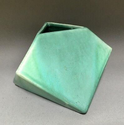 Muncie Pottery Rombic #310 - CUBE in Green by Reuben Haley - Excellent