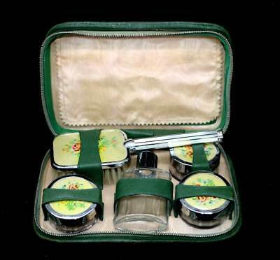 Vintage petit point 6 pc travel vanity set in original green leather zip case