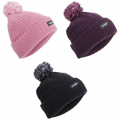 c8321eef946 Childrens Girls Thinsulate Thermal Winter Beanie Hat With Pom Pom (3M  (HA541)