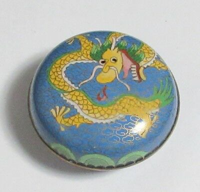 Chinese Cloisonne Blue Enamel Dragon Small Jar Box