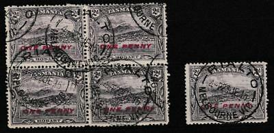 Tasmania - 1d on 2d pictorial blk 4 and single cancelled Rialton Melbourne cds