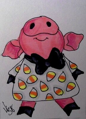 "Aceo  Original  ATC  ""CANDY CORN DRESS  ""    pencil / ink"