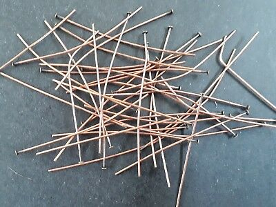 80 Antique Copper Plated High Quality Head pins  (0.7mm) 50mm long
