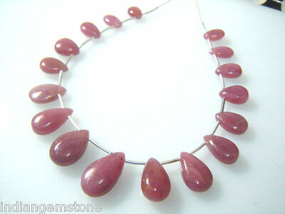 Natural Ruby Smooth Briolette Pear Drops AAA Quality Size 5x10-9x15MM  -17Pc