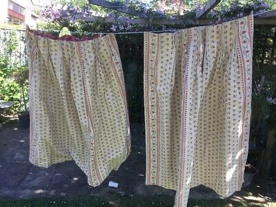 Pair of Heavy Vintage Lined Curtains 23 X 41.5 Inches