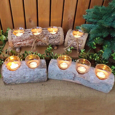 Rustic Natural Wood Log Tea Light Votive Candle Holders Christmas Winter Wedding