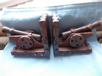 Pair of Vintage/Antique French Polished Wood Cannon Bookends  ==VGC.