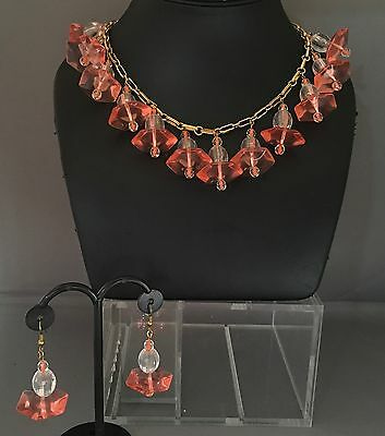 vintage Lucite Fringe Necklace and matching Earrings