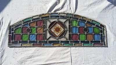 Victorian stained glass panel hand painted centre