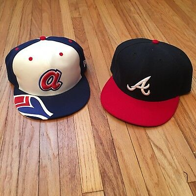 Lot Of 2 Atlanta Braves New Era Fitted Baseball 7 5/8 Caps 7 3/4 Vtg Falcons