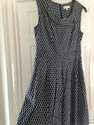 Dress Navy Blue White Design 12 -14 Apricot Vintage Look Over Knee Length