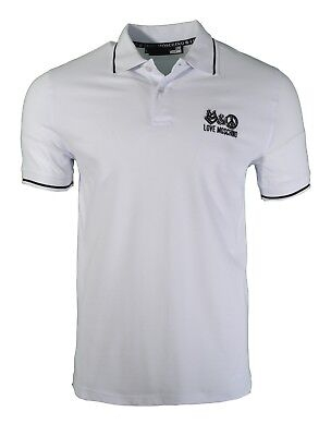 f71951dc3 Bnwt Love Moschino Embroidered Chest Logo Polo Shirt White & Black Peace  Sign