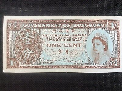 Government on Hong Kong One Cent 1c single sided banknote. Uncirculated.