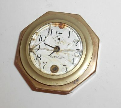 Antique New Haven 8 Day Clock Octagon 4 Inch Brass Case Porcelain Dial Parts