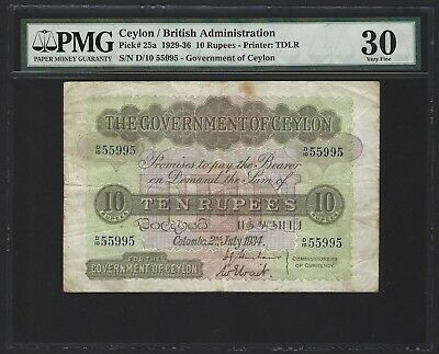 1934 Ceylon 10 Rupees, PMG 30 VF, Rare Date P-25a, Binary Serial Number 55995!