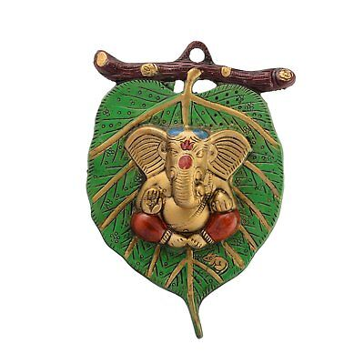 Lord Ganesha Wall Hanging On Beautiful Leaf in White Metal for Diwali Home Decor