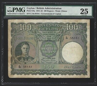 1945 Ceylon 100 Rupees, Beautiful Large Note, KGVI, PMG 25 100% Orig VF, P-38a