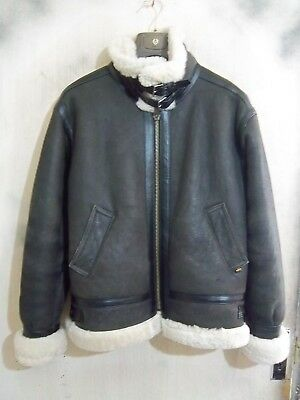Vintage Alpha Industries Usa B3 Shearling Sheepskin Leather Jacket Size M