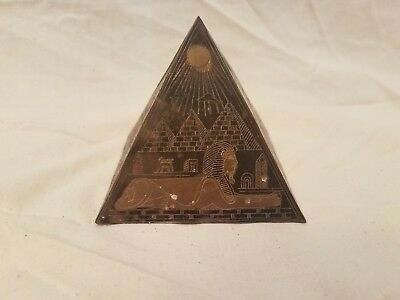 Antique Egyptian Pyramid ~ Etched Brass/Bronze/Copper ~ Ancient Egypt King Tut