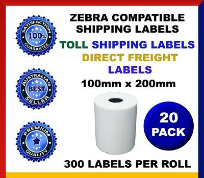 20 Rolls Direct Thermal Labels 100 x 200 MM Zebra Sato TOLL DIRECT FREIGHT