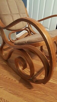 Mid Century Authentic Thonet Poland Bentwood & Woven Cane Rocking Chair Rocker!
