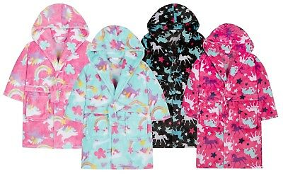 Girls Rainbow Dressing Gown 3D Hooded Patterned Bath Robe House Coat Girls Size