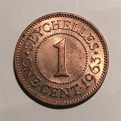 1963 Seychelles One Cent UNC - British Crown Colony - Elizabeth II #CH112