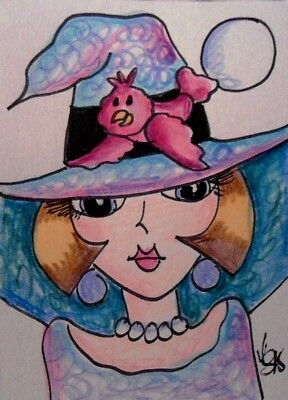 "Aceo  Original  ATC  "" GOOD WITCH   ""    pencil / ink"