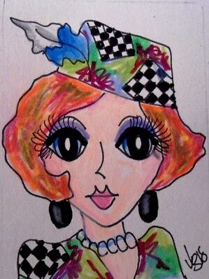 "Aceo  Original  ATC  "" DONNA   ""    pencil / ink"