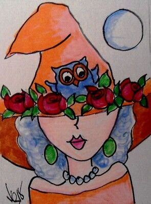 "Aceo  Original  ATC  "" ROSE OWL   ""    pencil / ink"