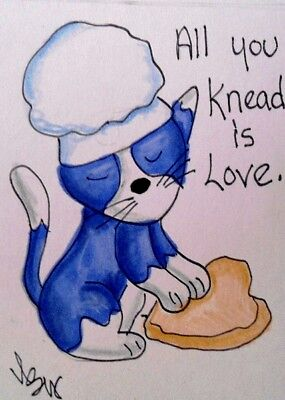 "Aceo  Original  ATC  "" KNEAD   ""    pencil / ink"